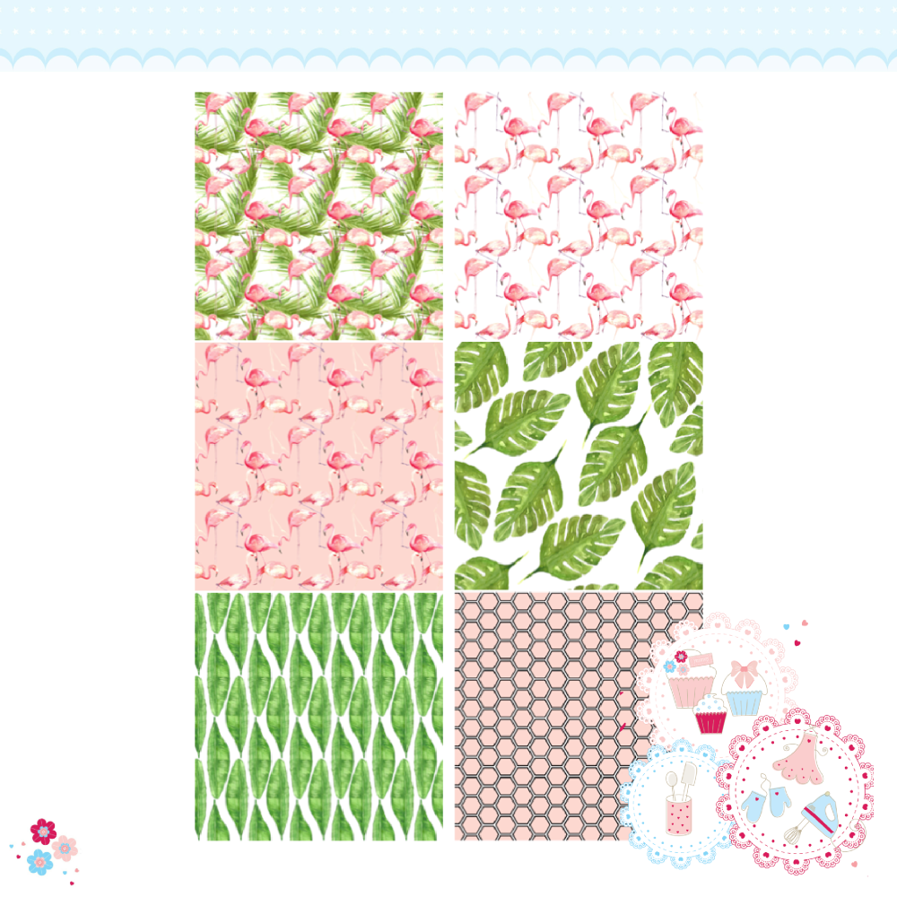 Tropical Flamingo Patchwork x 6 A4 Edible Printed Sheet
