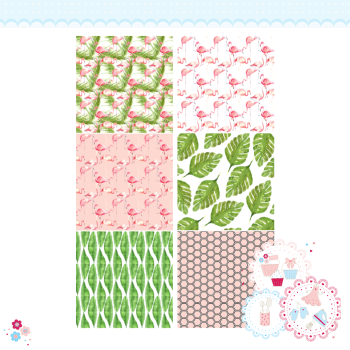 Tropical Watercolour Flamingo Patchwork x 6 A4 Edible Printed Sheet