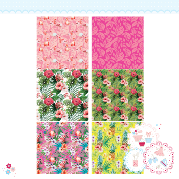 Tropical Hibiscus Palm Flamingo Patchwork A4 Edible Printed Sheet
