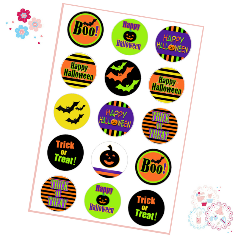 Bright Halloween Cupcake Toppers