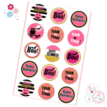Halloween Cupcake Toppers - Pink Glitter Designs