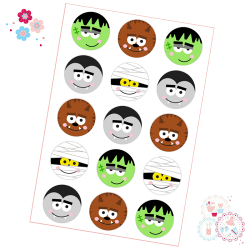 Halloween Faces Cupcake Toppers
