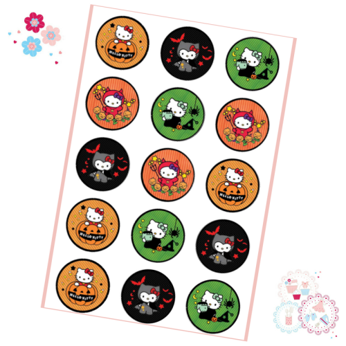 Hello Kitty Halloween Cupcake Toppers