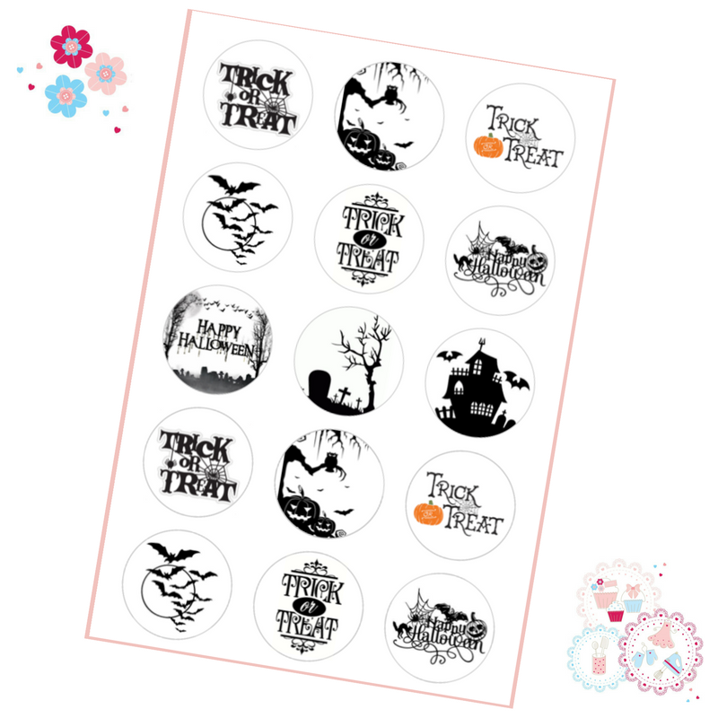 Halloween Cupcake Toppers - Black and White Trick or Treat designs
