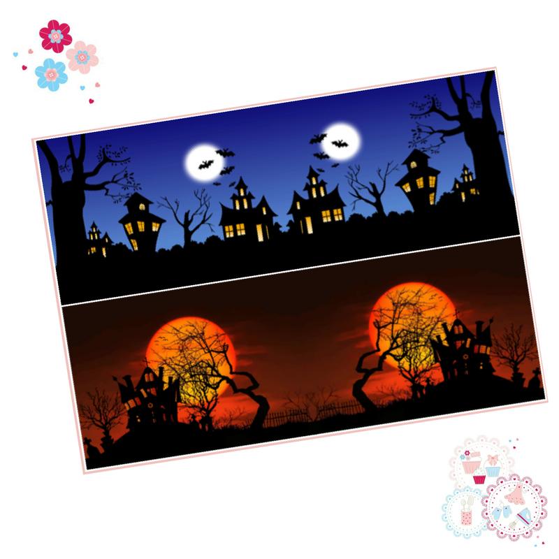 Halloween Icing Sheet Cake Wrap - spooky house design