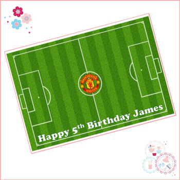 Edible Icing Sheet - Football Pitch Cake topper - personalised