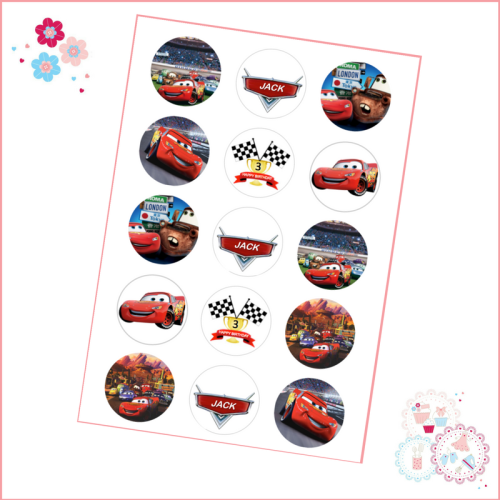Cars Cupcake Toppers - Personalised