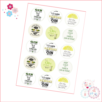 Gin and Tonic Themed Cupcake Toppers
