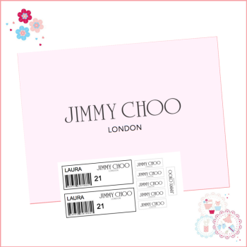 Edible Icing Sheet - Jimmy Choo Pink Shoe Box Lid and Labels set