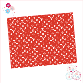 Edible Icing Sheet - Red & White Louis Vuitton Designer Logo Icing Sheet (portrait or landscape)