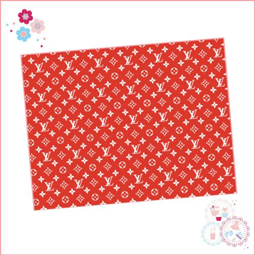 Edible Icing Sheet - Red & White Louis Vuitton Designer Logo Icing Sheet