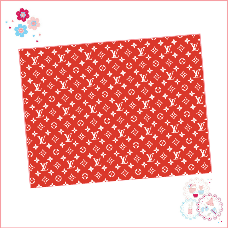 Edible Icing Sheet - Red & White Louis Vuitton Designer Logo Icing Sheet