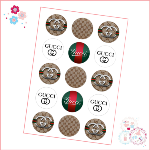 Gucci Cupcake Toppers x 15 - Designer Brands icing pre-cut toppers