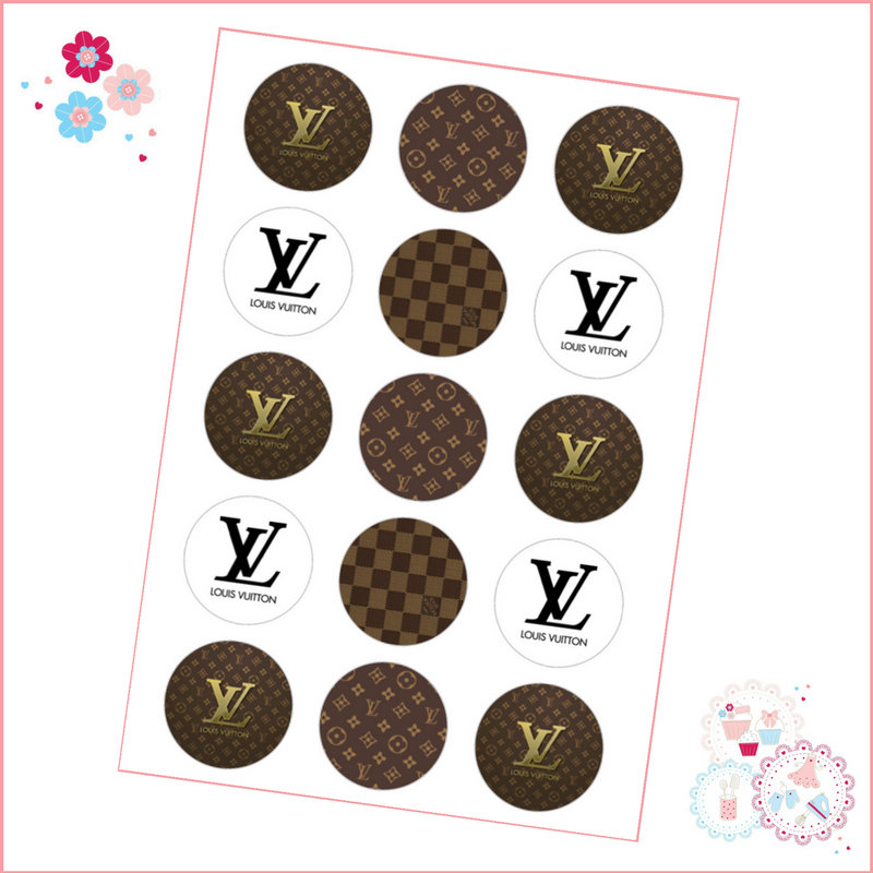 Louis Vuitton LV Cupcake Toppers x 15 - Designer Brands icing pre-cut toppe