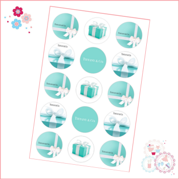 Tiffany Cupcake Toppers x 15 - Designer Brands icing pre-cut toppers