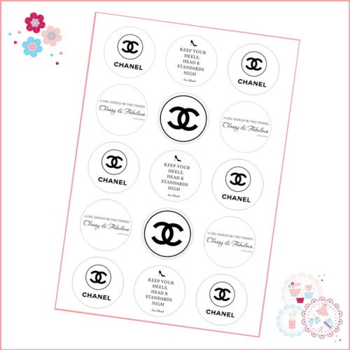 Chanel Cupcake Toppers x 15 - Designer Brands icing pre-cut toppers