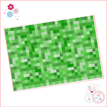 Edible Icing Sheet - Minecraft style Green Squares icing Sheet