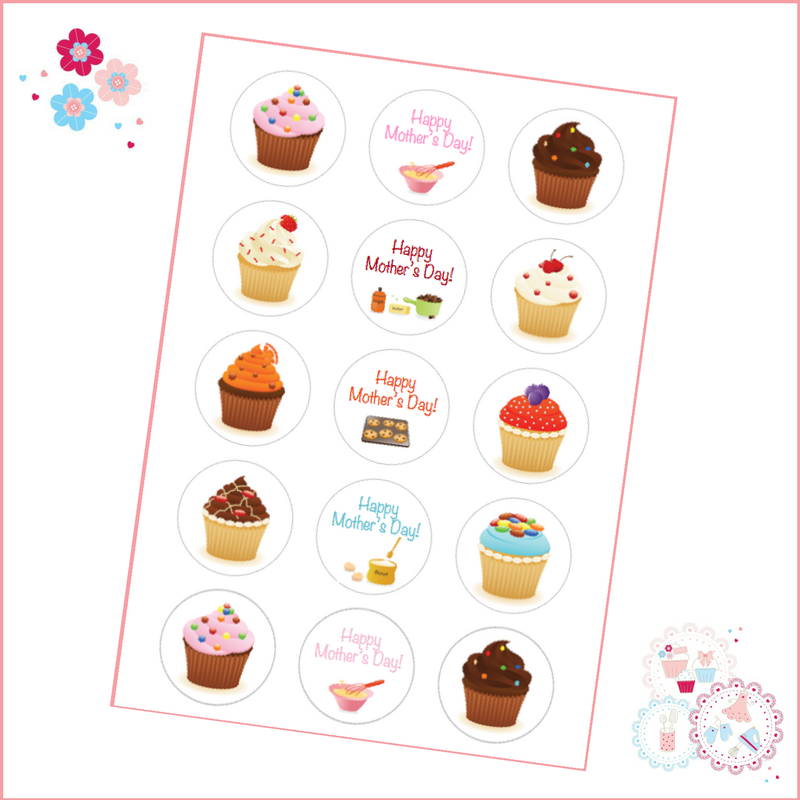 Mother's Day Baking Themed Cupcake Toppers
