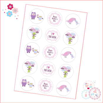 Mother's Day Purple birds owl Cupcake Toppers