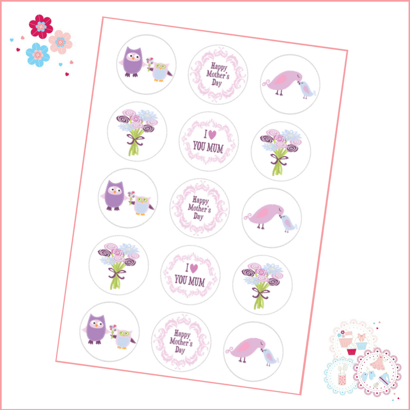 Mother's Day Cute Owl Purple Cupcake Toppers