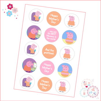 Mother's Day Mummy Pig Themed Cupcake Toppers