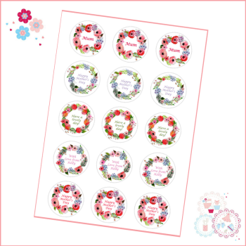 Mother's Day Watercolour Flowers Cupcake Toppers - can be personalised