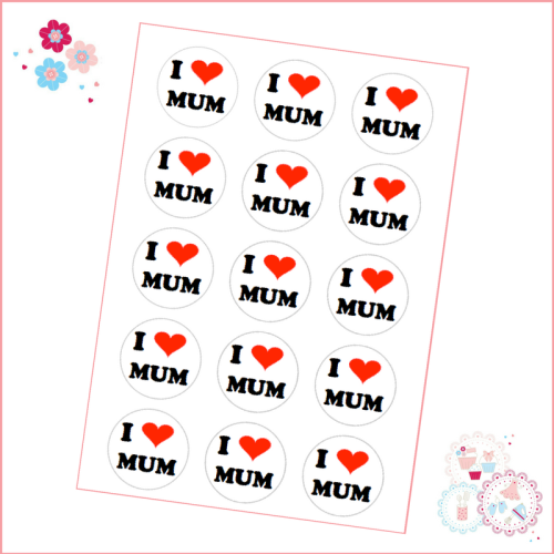 Mother's Day I heart Mum Cupcake Toppers