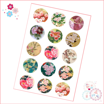 Oriental Flowers Cupcake Toppers