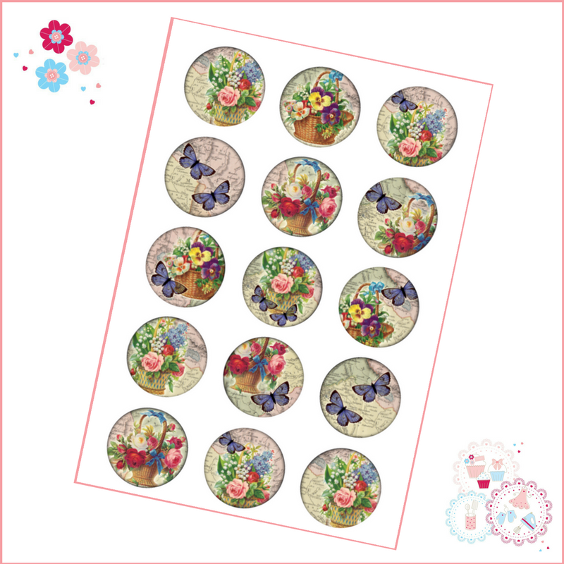 Butterflies & Flowers Cupcake Toppers
