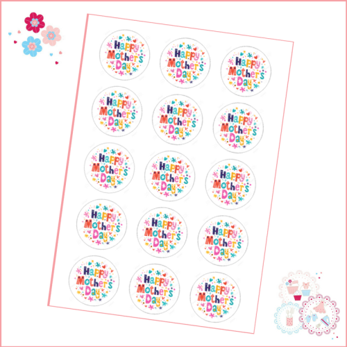 Mother's Day Bright Cupcake Toppers