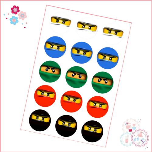 Edible Cupcake Toppers x 15 - Lego Ninjago Style Cupcake Toppers