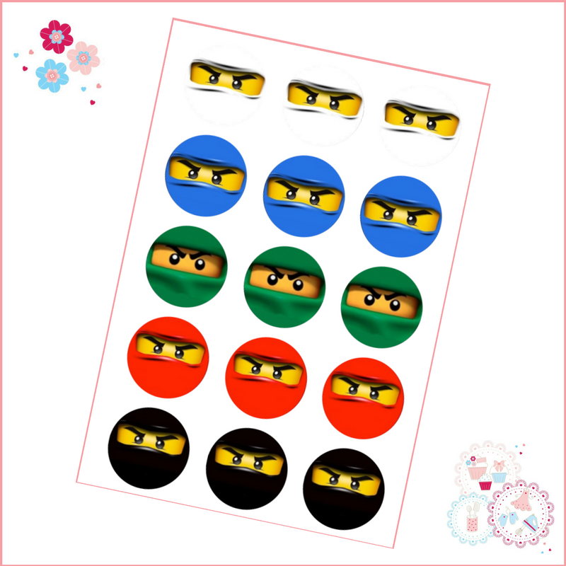 Edible Cupcake Toppers x 15 - Lego Ninjago Style Cupcake Toppers