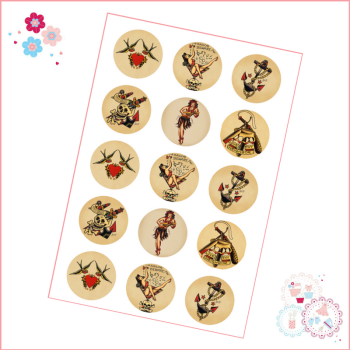 Edible Cupcake Toppers x 15 - 'Sailor Jerry' Tattoo Theme