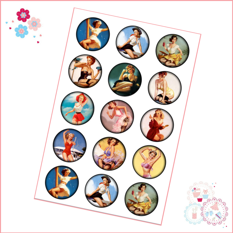 Edible Cupcake Toppers x 15 - Vintage Pin Up Girls