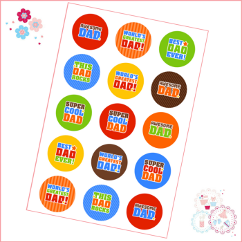 Edible Cupcake Toppers x 15 - Father's Day 'Awesome'