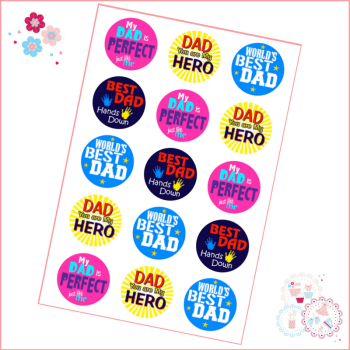 Edible Cupcake Toppers x 15 - Father's Day 'My Hero'
