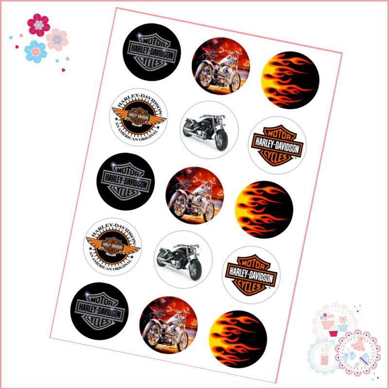 Edible Cupcake Toppers x 12 - Motorbike Design