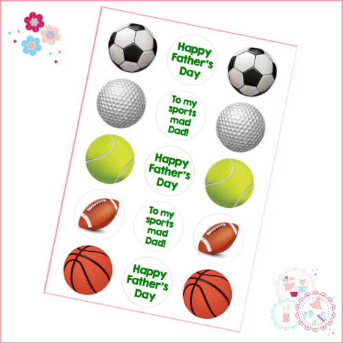 Edible Cupcake Toppers x 15 - Father's Day - Sports Mad Dad