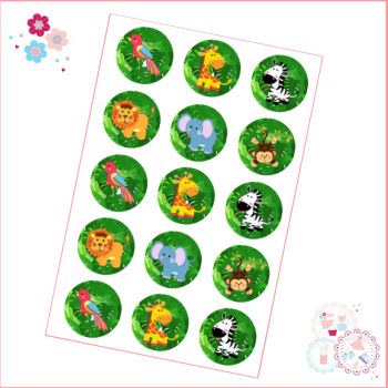 Edible Cupcake Toppers x 15 - Jungle Safari Animals Design