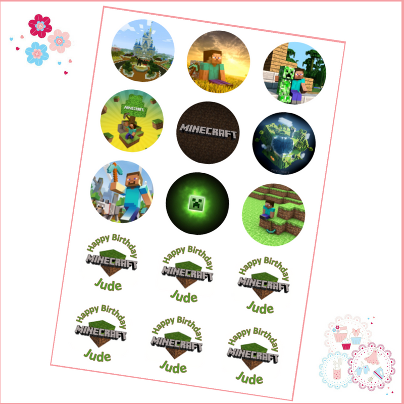 Edible Cupcake Toppers x 15 - Minecraft Cupcake Toppers - personalised with  name