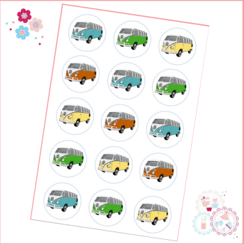Edible Cupcake Toppers x 15 - Retro VW Campervan Theme
