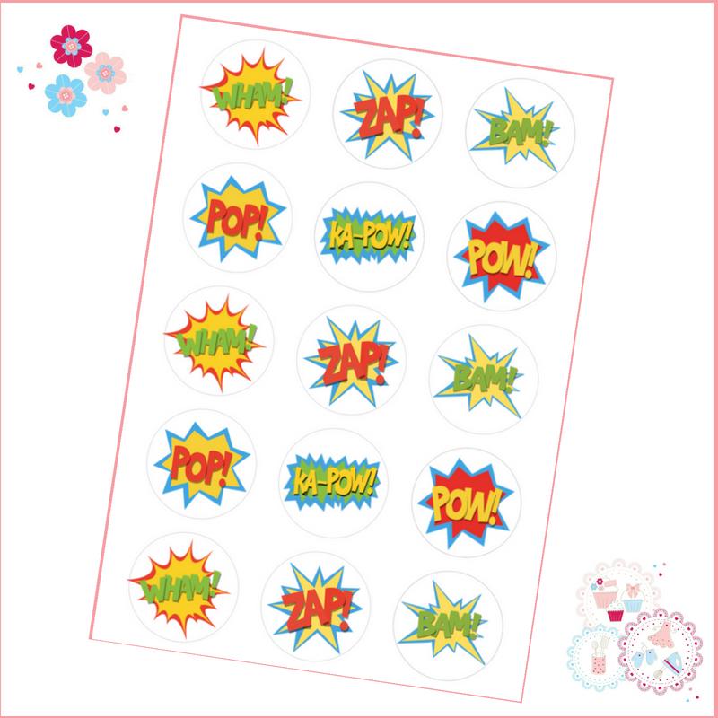 Edible Cupcake Toppers x 12 - Superhero 'Ka-Pow' Theme!