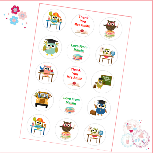Edible Cupcake Toppers x 12 - 'Thank You Teacher' Cute Owls Theme