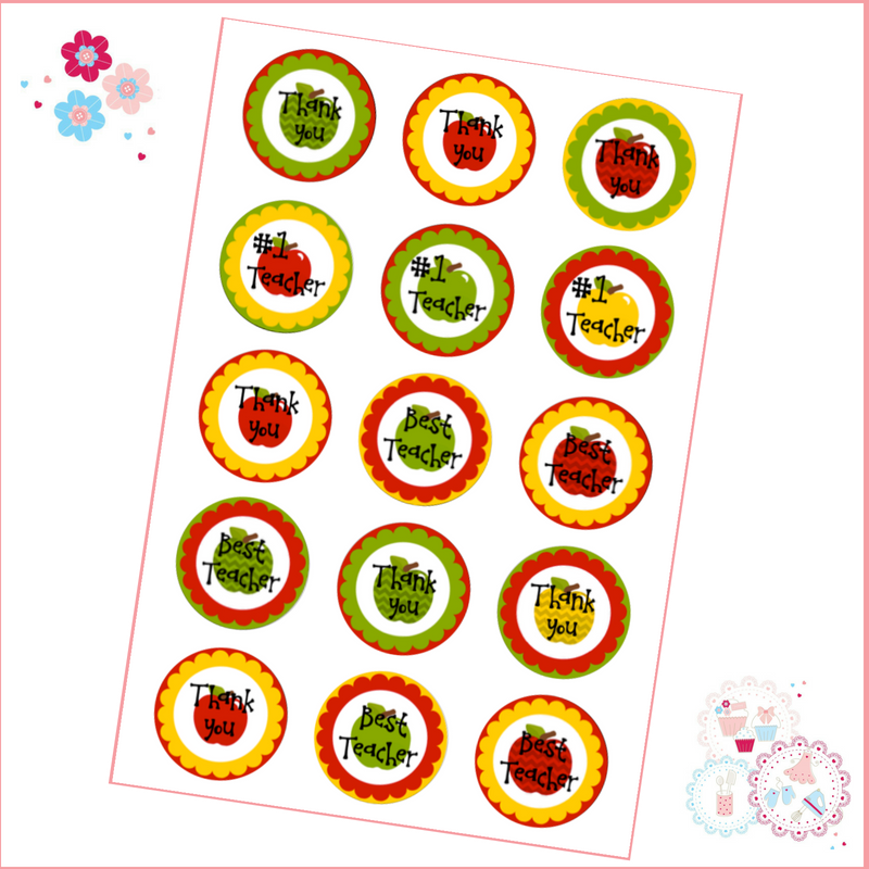 Edible Cupcake Toppers x 12 - '#1 Teacher'