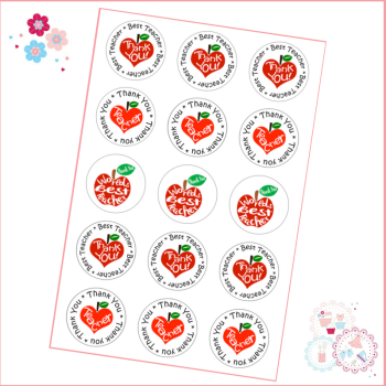 Edible Cupcake Toppers x 15 - 'Best Teacher in the world'