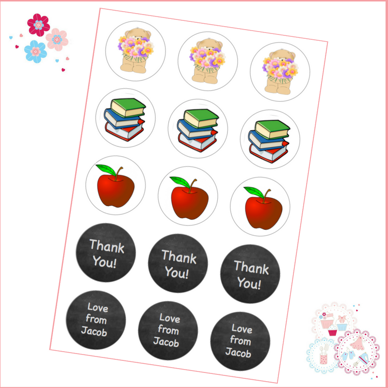Edible Cupcake Toppers x 15 - apples, books and teddies