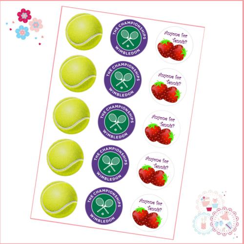 Edible Cupcake Toppers x 15- Wimbledon Tennis Cupcake Toppers