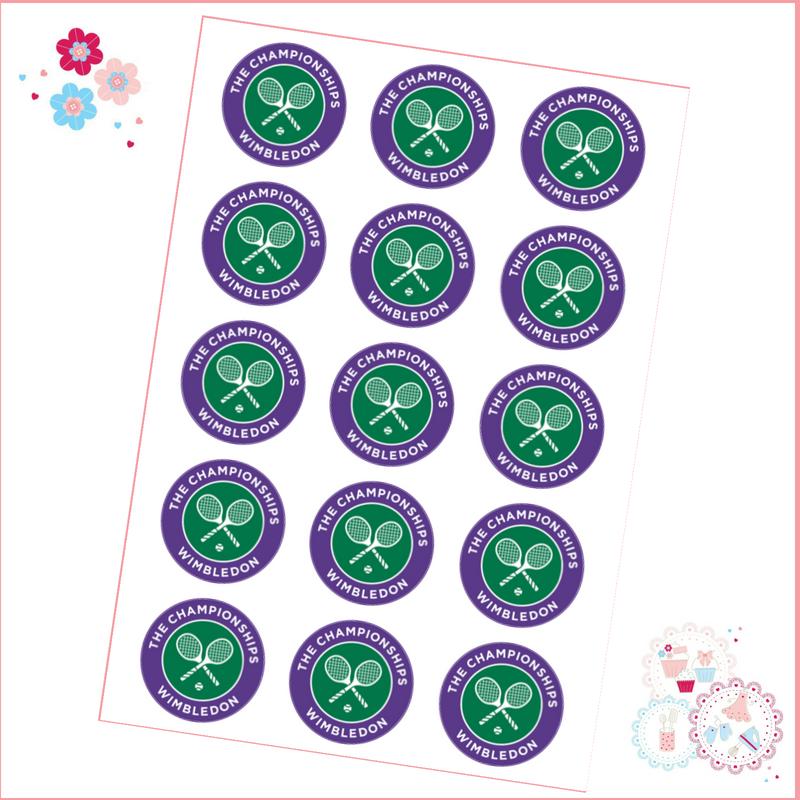 Edible Cupcake Toppers x 15 - Wimbledon Championships Tennis Cupcake Topper