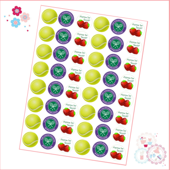 Edible Mini Cupcake Toppers x 48 - Wimbledon Championships Tennis Ball Mini Cupcake Toppers