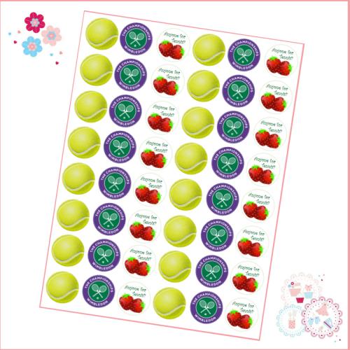 Edible Mini Cupcake Toppers x 48 - Wimbledon Championships Tennis Ball Mini